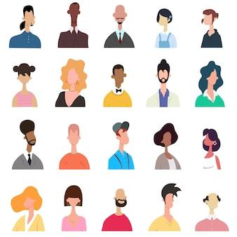 Conjunto de retratos de pessoas brilhantes - estilo mão desenhada