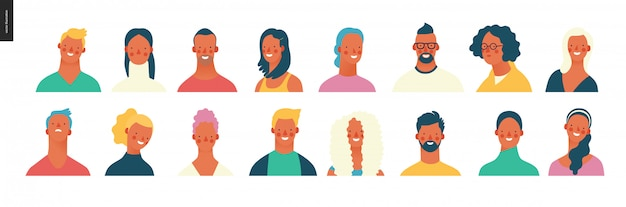 Conjunto de retratos de pessoas brilhantes - jovens, homens e mulheres