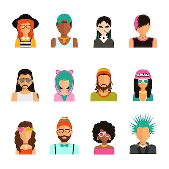 Conjunto de retratos de pessoas de subcultura