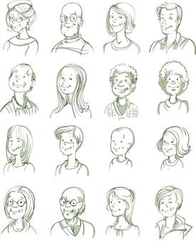Conjunto de retratos desenhados à mão