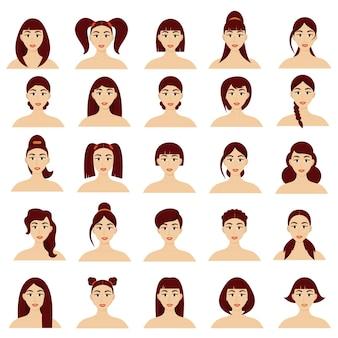 Conjunto de retratos femininos com diferentes penteados. lindas garotas jovens morenas. vetor isolado no fundo branco. estilo de desenho animado.