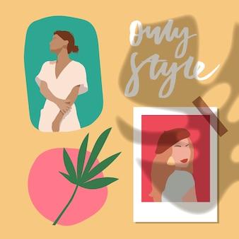 Conjunto de retratos femininos com objetos de doodle. corte de papel estilo mosaico. ilustração abstrata desenhada mão do sumário do penteado. .