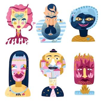 Conjunto de retratos psicológicos imaginários do mundo interior humano, incluindo uma doce mulher
