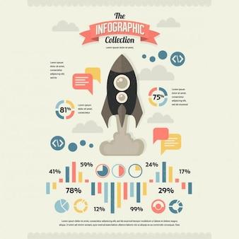 Conjunto de retro elements infográfico vintage