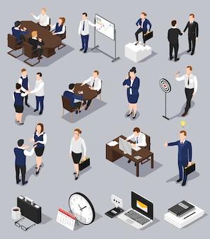 Conjunto de reuniões de negócios isométrica