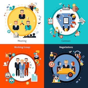 Conjunto de reuniões empresariais