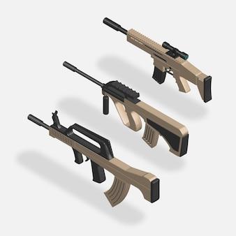 Conjunto de rifle de assalto isométrico 3d