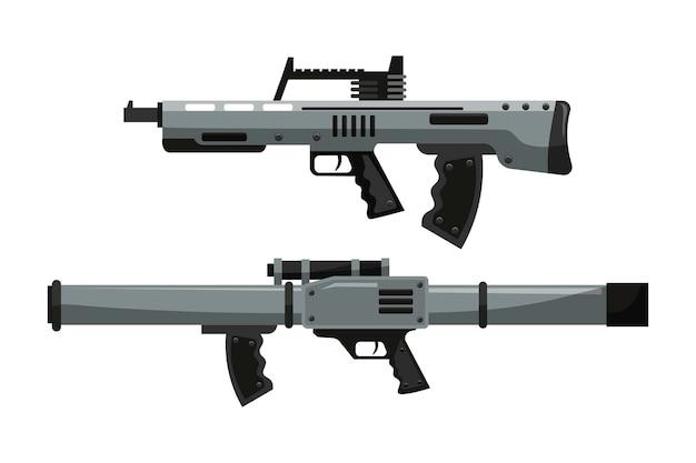 Conjunto de rifle militar isolado. sniper assault carabina semiautomática barndook e shotgun