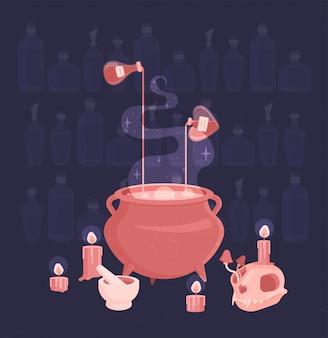 Conjunto de ritual de bruxa. poções e velas