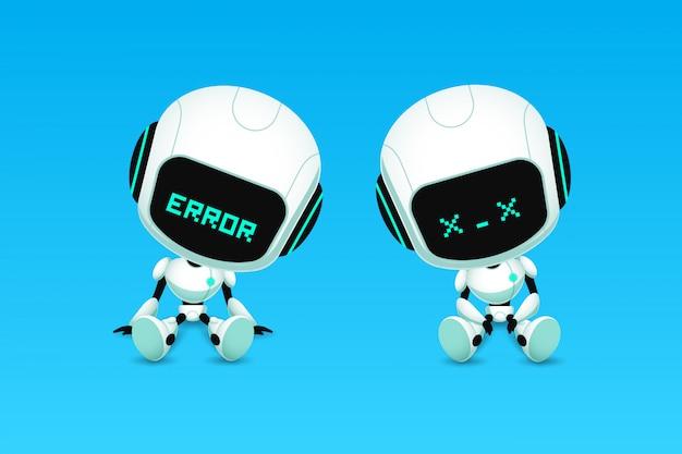 Conjunto de robô bonito ai personagem erro e ação travar