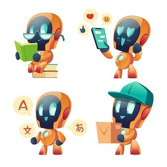 Conjunto de robô de bate-papo bot ai. futura inovação de marketing