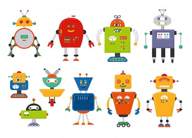 Conjunto de robô engraçado isolado