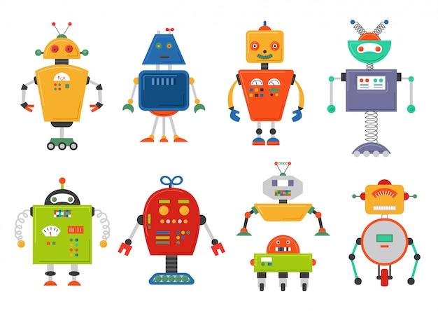 Conjunto de robô isolado futuro engraçado