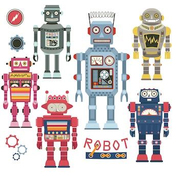 Conjunto de robô vintage fofo