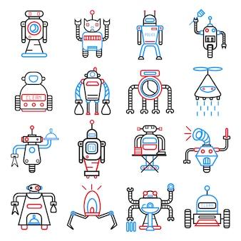 Conjunto de robôs android isolado no branco