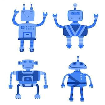 Conjunto de robôs bonitos de cor diferente isolado