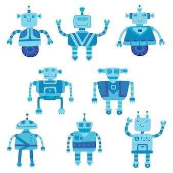 Conjunto de robôs bonitos de cores diferentes, isolado no branco.