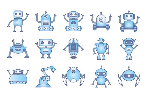 Conjunto de robôs cyborg conjunto de ícones