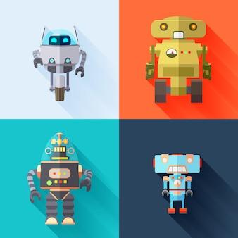 Conjunto de robôs de brinquedo com longas sombras