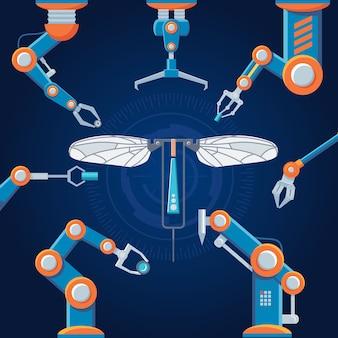 Conjunto de robôs de manufatura de engenharia