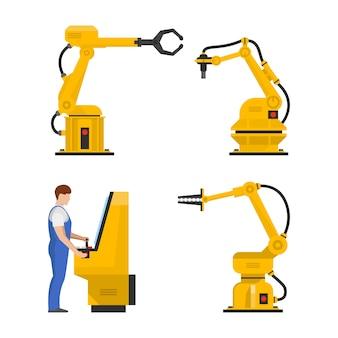Conjunto de robôs de montagem automatizada e operador de cnc