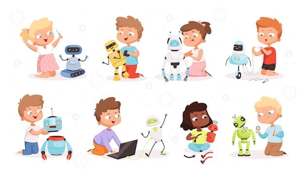 Conjunto de robôs de programação infantil