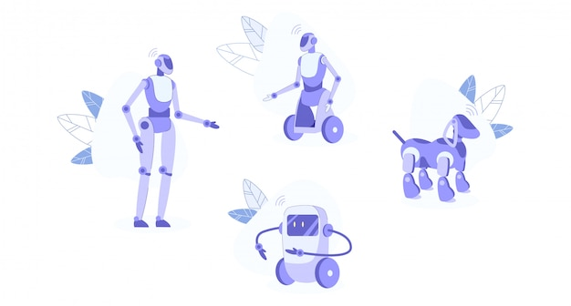 Conjunto de robôs domésticos isolado no branco