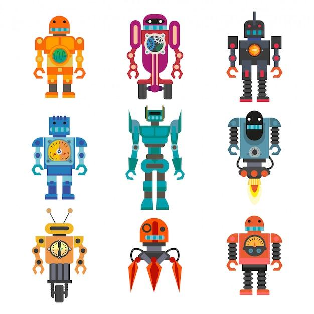 Conjunto de robôs dos desenhos animados.