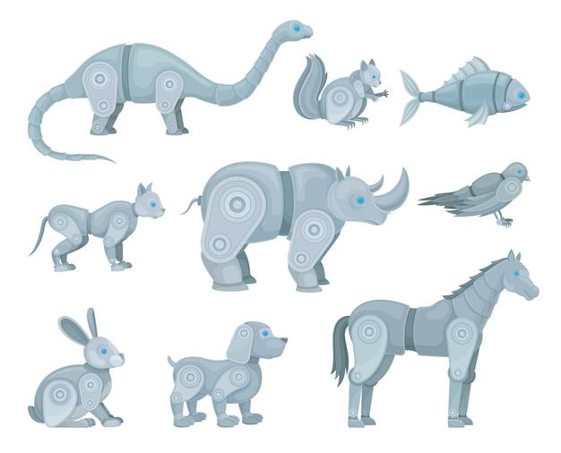 Conjunto de robôs em forma de animais