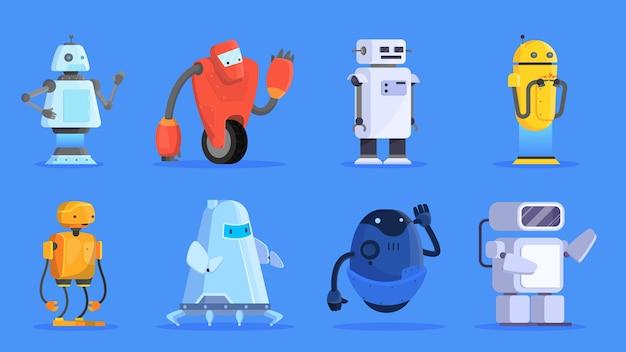 Conjunto de robôs. grupo de caráter futurista de várias formas