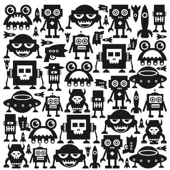 Conjunto de robôs. ilustrações.