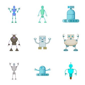 Conjunto de robôs invasores, estilo cartoon