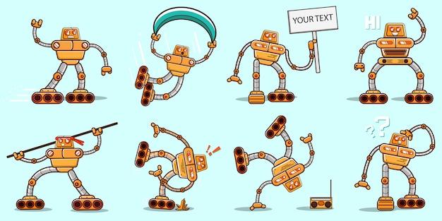 Conjunto de robôs lisos amarelos fofos