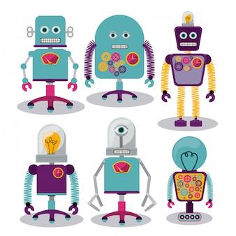 Conjunto de robôs malucos