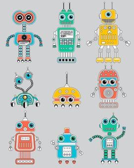 Conjunto de robôs vintage fofos. ícones de circuito.