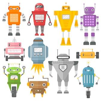 Conjunto de robôs vintage fofos.