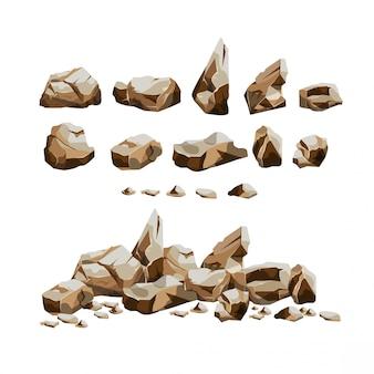 Conjunto de rochas de granito em estilo cartoon