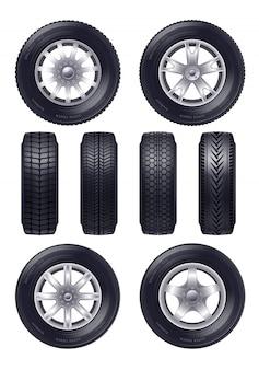 Conjunto de rodas de carro realista