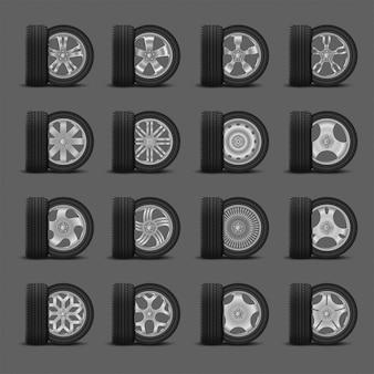 Conjunto de rodas de pneu e carro realista