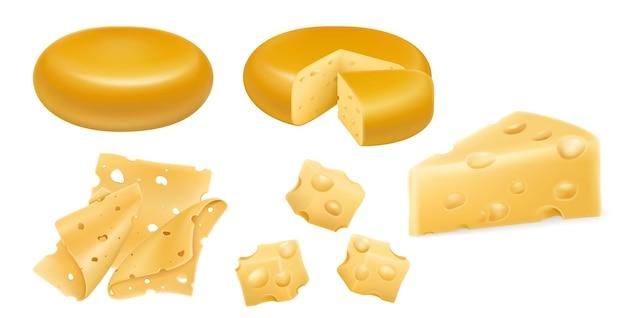 Conjunto de rodas de queijo e fatias isoladas no fundo branco. objeto de comida, vetor 3d realista. cabeça de queijo, cubos e pedaços de queijo duro, isolados no fundo branco.
