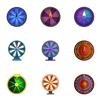 Conjunto de rodas de sorte, estilo cartoon