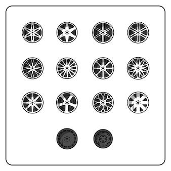 Conjunto de rodas fácil editável