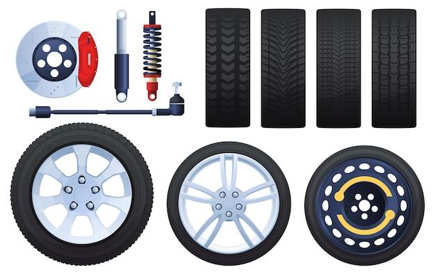 Conjunto de rodas, freios, amortecedores, pneus. protetores diferentes. isolado em um fundo branco.