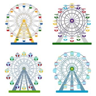 Conjunto de rodas-gigantes coloridas em fundo branco, ilustração vetorial