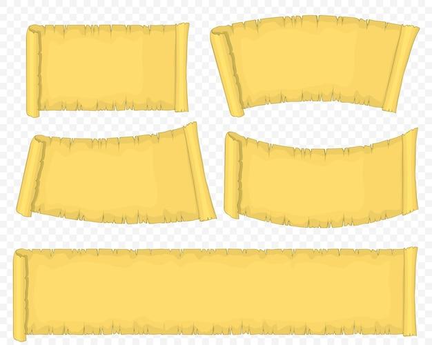 Conjunto de rolo de papel antigo, rolo de papiro amarelo, manuscrito antigo em branco.