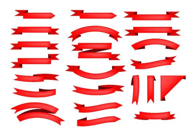Conjunto de rolos de fita vermelha