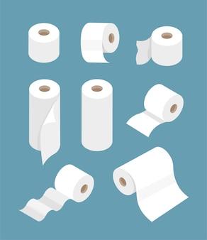 Conjunto de rolos de papel higiênico para banheiro, cozinha ícones modernos e planos em um estilo moderno simples