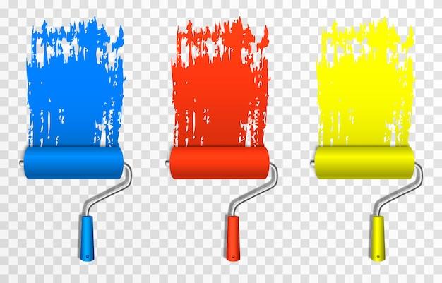 Conjunto de rolos de pintura artística rolos de pintura de construção png marca de pintura