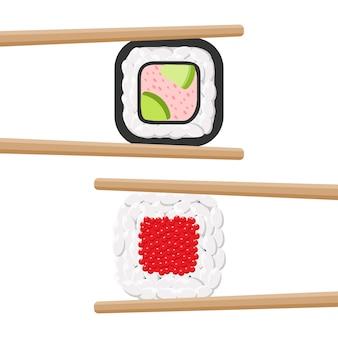 Conjunto de rolos de sushi colorido gostoso com pauzinhos