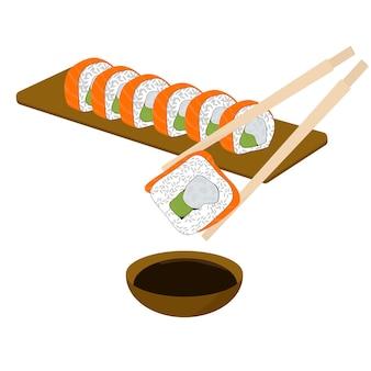 Conjunto de rolos. sushi. ilustração vetorial plana